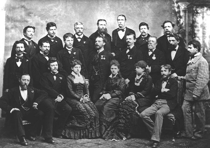 I dilettanti della prima rappresntazione slovena al Teatro Fenice di Trieste, il 21 gennaio 1880