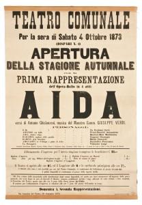 La locandina della prima rappresentazione a Trieste di «Aida»